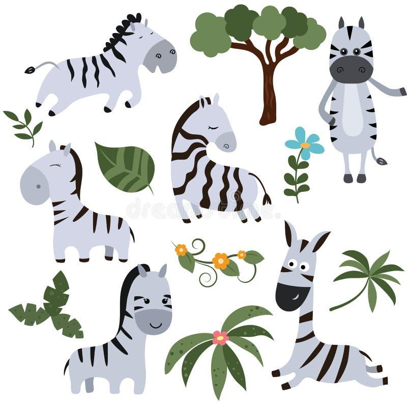 Cebras divertidas determinadas stock de ilustración