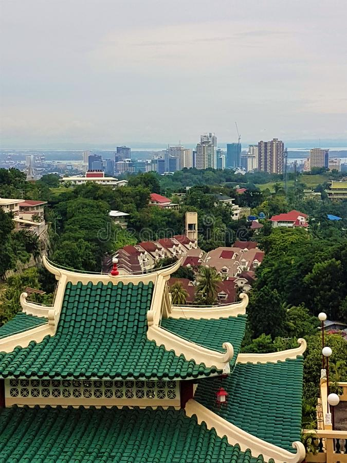 Cebu City seen from the Taoist Temple stock photography