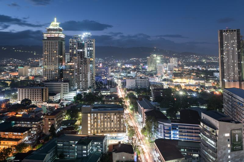 CEBU, PHILIPPINES - FEBRUARY 06, 2018: Night Cebu Cityscape with Buildings Lights in Background. royalty free stock photos