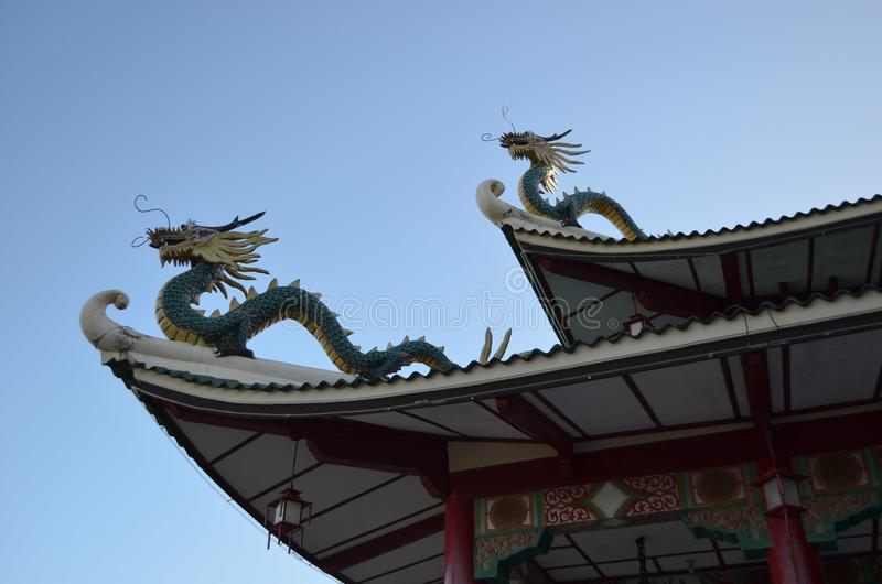 2015: Cebu-Taoist-Tempel berühmtes Dragon Roof stockfoto