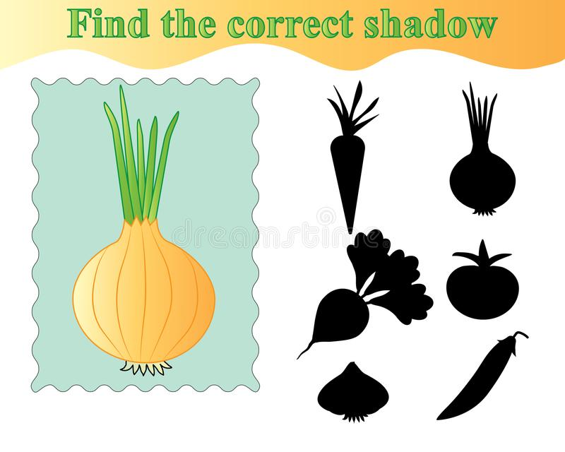 Cebula Znajduje poprawnego cień, edukacyjna gra dla dzieciaków ilustracja wektor