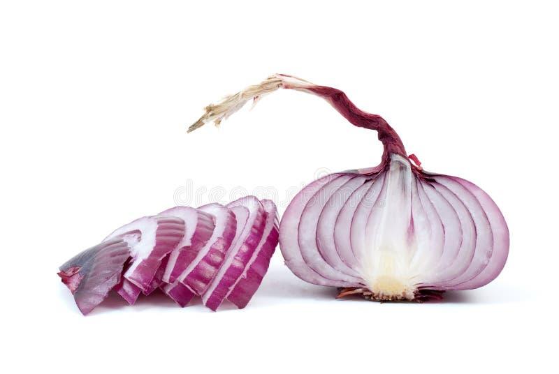 cebuli przyrodnia purpura pokrajać niektóre zdjęcie royalty free