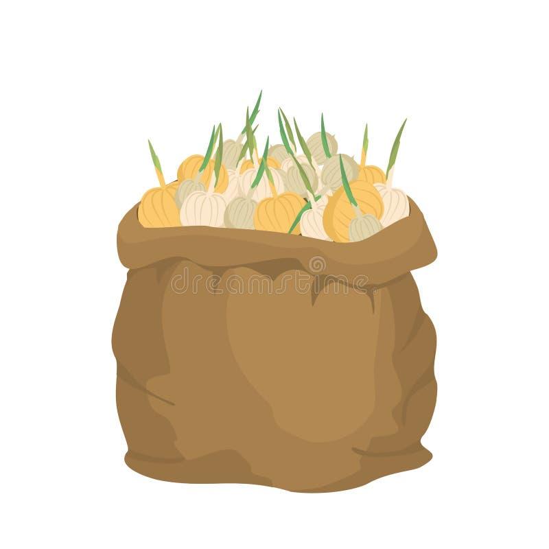 Cebulkowa Burlap torba worek warzywa duża uprawa na gospodarstwie rolnym sackful ilustracji