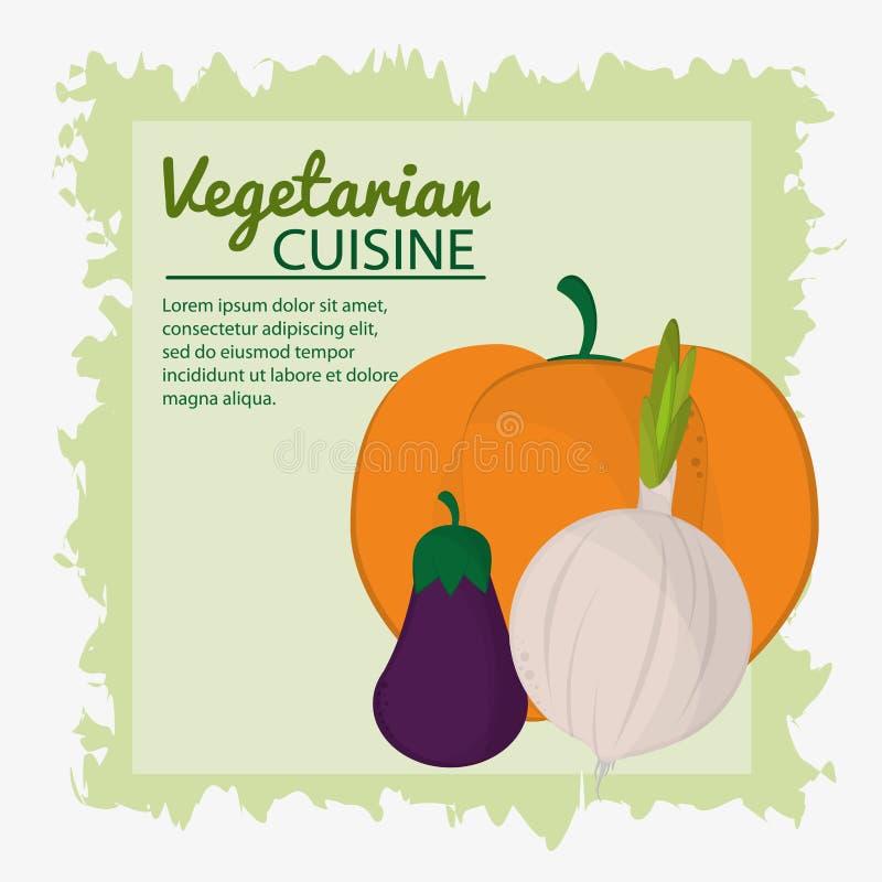 Cebulkowej oberżyny kuchni plakata zieleni dyniowy jarski tło royalty ilustracja