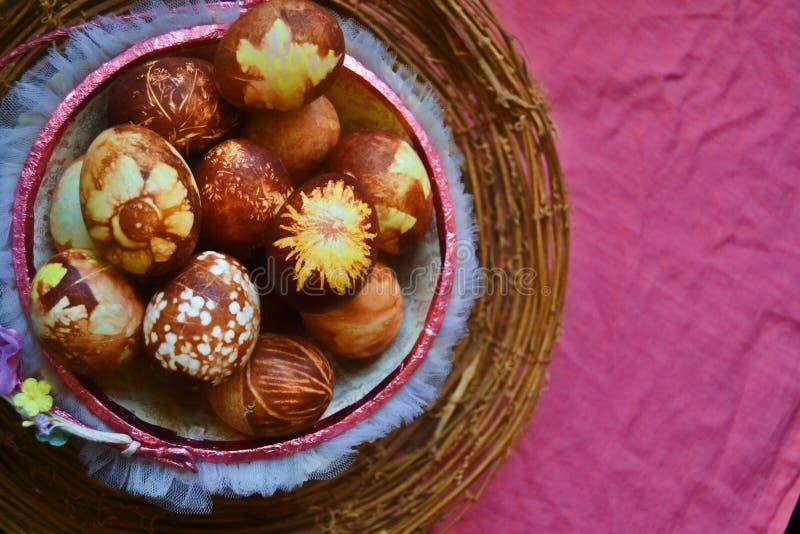 Cebulkowej skóry farbujący jajka w koszu zdjęcie royalty free
