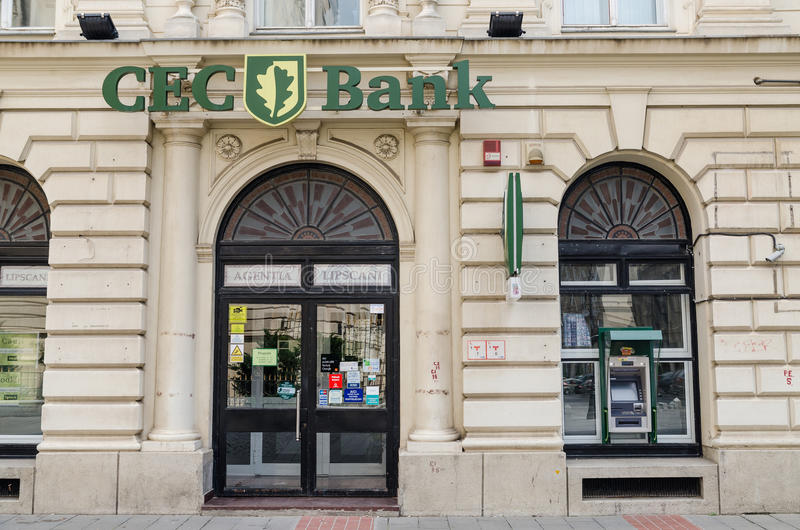 CEC Bank Agency. BUCHAREST, ROMANIA - JUNE 15: CEC Bank Agency on June 15, 2013 in Bucharest, Romania. Located downtown Bucharest is a state-owned Romanian stock photos