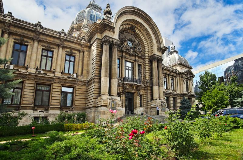 CEC Palace in Bucharest. Bucharest, Romania - June 28, 2018: Side view of the famous CEC Palace, The Palace of the Savings Bank in the historical center on royalty free stock photography