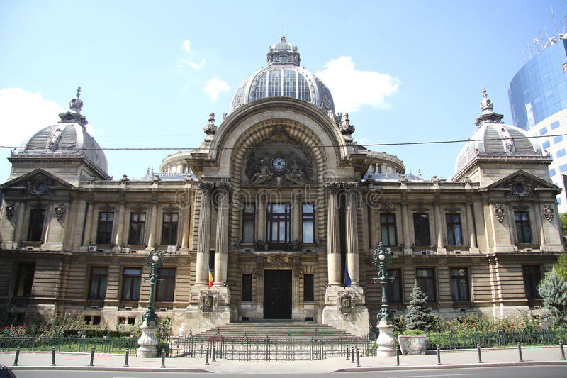CEC Palace in Bucharest, Romania. The CEC Palace in Bucharest, Romania, built in 1900 and situated on Calea Victoriei opposite the National Museum of Romanian stock photography