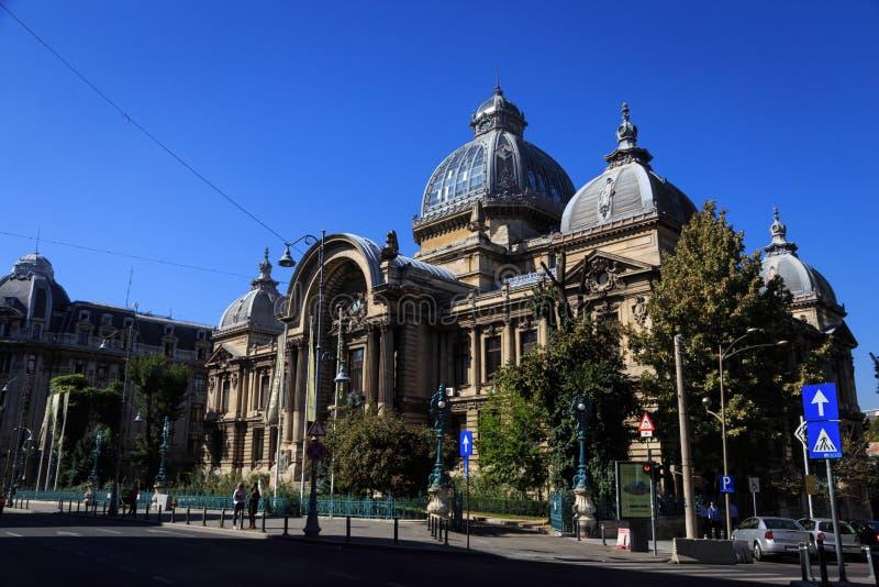 CEC Palace Ville de Bucarest, Roumanie photo libre de droits