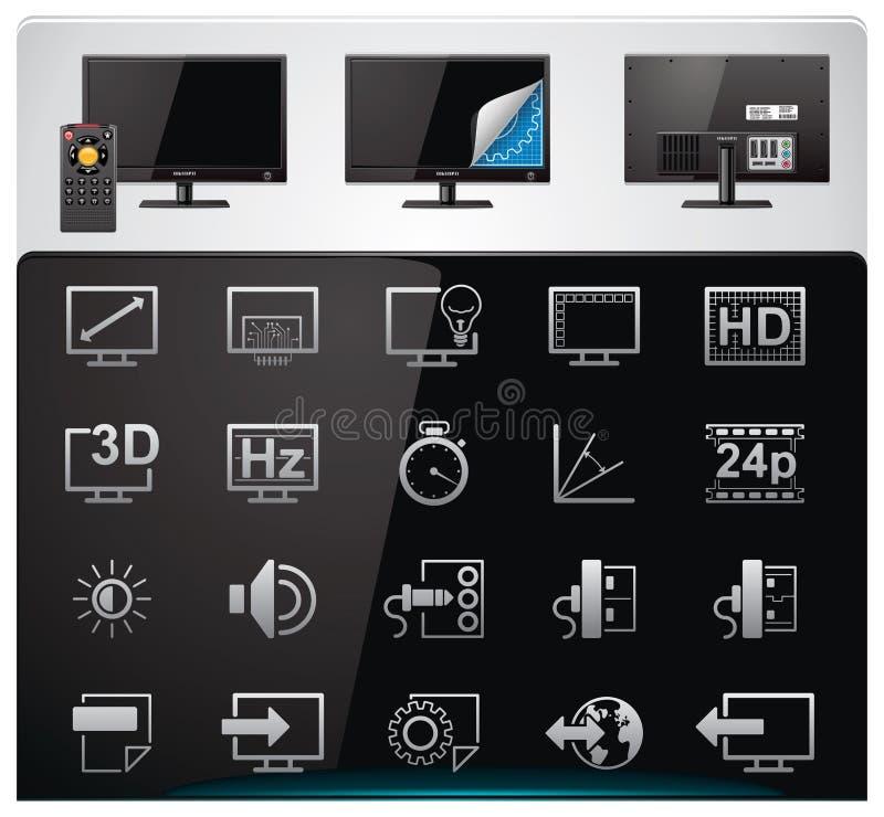 cech ikony ustalony specyfikacj tv wektor
