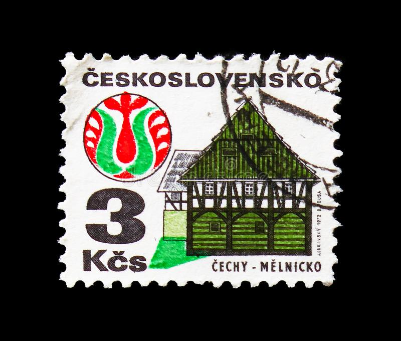 Cechy - Melnicko, Folk Architecture serie, circa 1979. MOSCOW, RUSSIA - AUGUST 18, 2018: A stamp printed in Czechoslovakia shows Cechy - Melnicko, Folk royalty free stock image