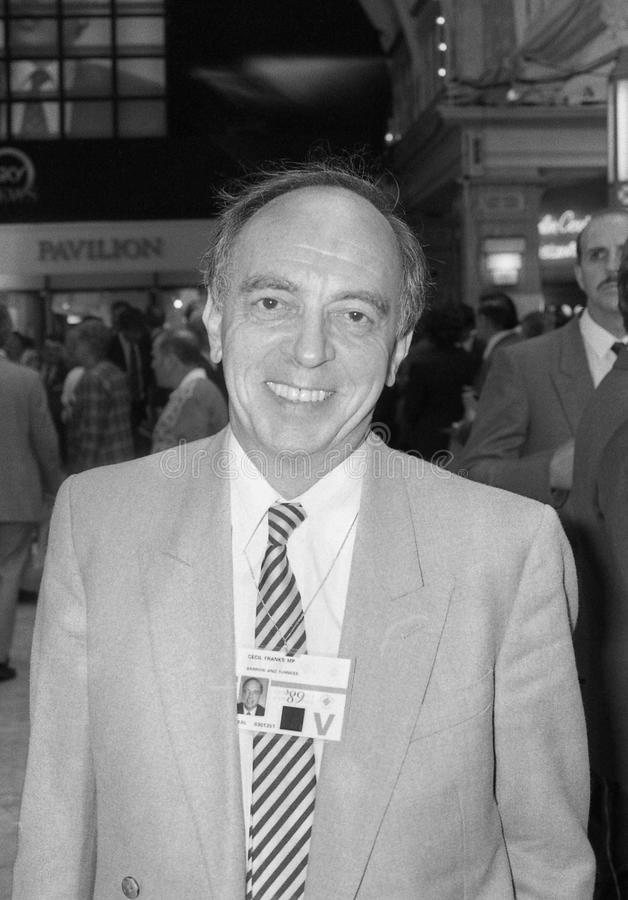 Cecil Franks. Conservative party Member of Parliament for Barrow in Furness, visits the party conference in Blackpool on October 10, 1989 royalty free stock image