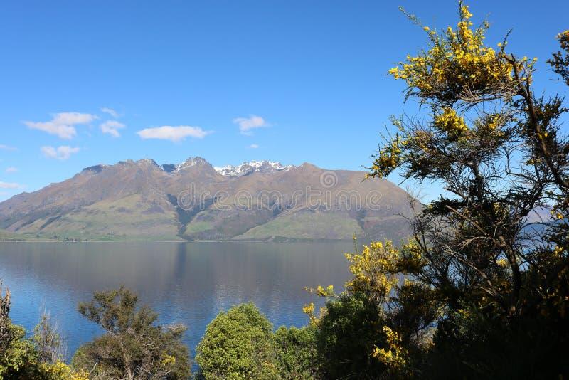 Cecil Peak en Meer Wakatipu, Otago, Nieuw Zeeland stock fotografie