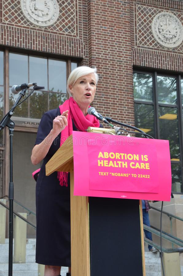 Cecile Richards em Ann Arbor Stop que as proibições protestam foto de stock