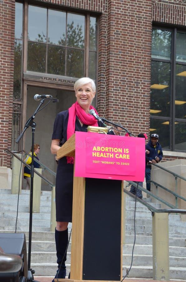 Cecile Richards em Ann Arbor Stop que as proibições protestam imagens de stock