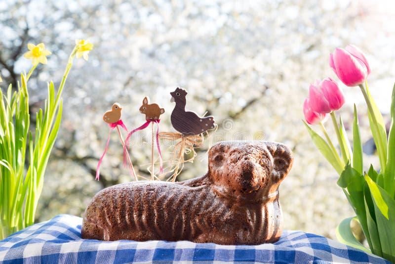 Ceco Pasqua - agnello al forno con le decorazioni, i fiori e la ciliegia di fioritura nei precedenti fotografia stock