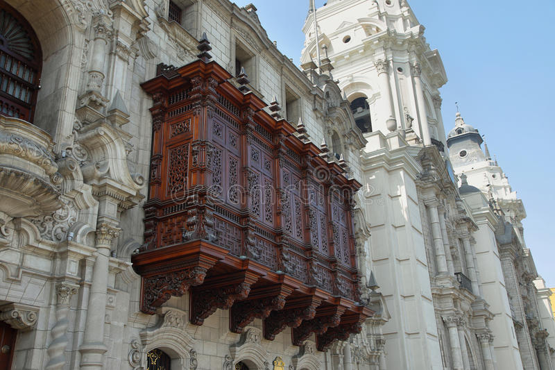 A cedar balcony in the Archbishop's Palace in Lima, Peru royalty free stock images