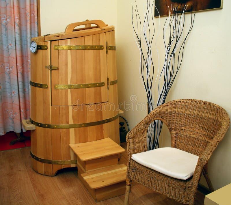 Cedar barrel sauna stock photos