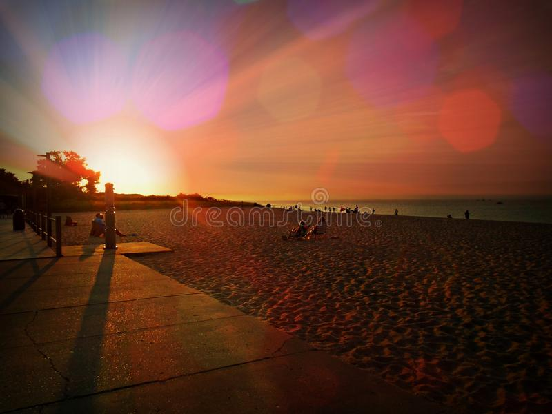 Cedar Beach Surreal Sunset imágenes de archivo libres de regalías