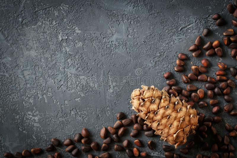 Cedar cones with nuts on stone table royalty free stock images