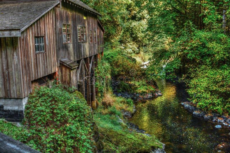 Cedar Creek Grist Mill - skogsmark, WA arkivbilder