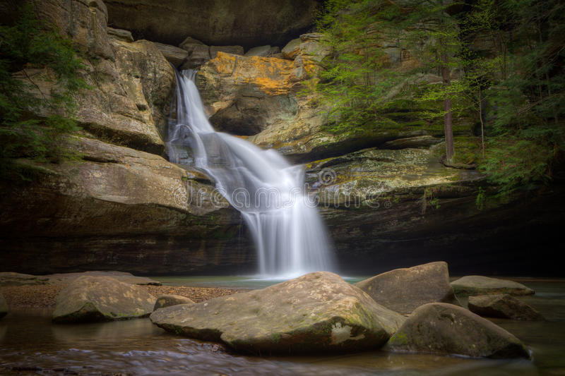 Cedar Falls. A springtime view of the beautiful Cedar Falls in Hocking Hills State Park, Ohio stock photography