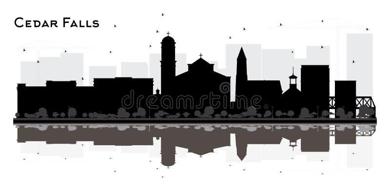 Cedar Falls Iowa City Skyline kontur med svarta byggnader och reflexioner som isoleras på vit stock illustrationer