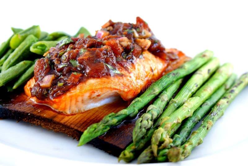 Cedar Planked Salmon royalty free stock image
