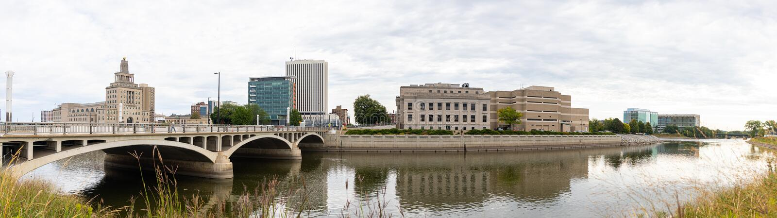 The City Of Cedar Rapids. Cedar Rapids, city in the state of Iowa, United States of America, as seen across the Cedar River royalty free stock photo
