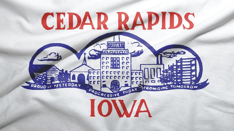 Cedar Rapids of Iowa of United States flag background. Cedar Rapids of Iowa of United States flag on the fabric texture background stock illustration
