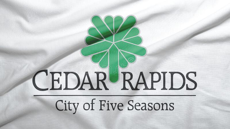 Cedar Rapids of Iowa of United States flag background. Cedar Rapids of Iowa of United States flag on the fabric texture background vector illustration