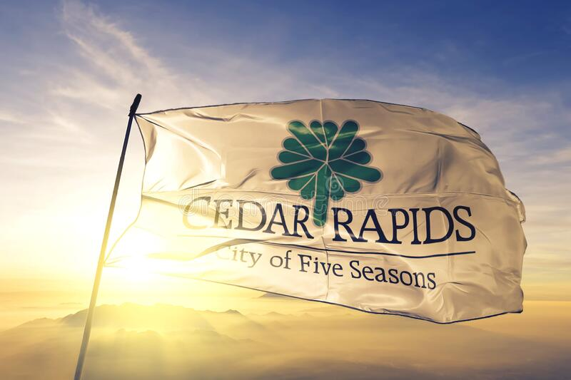 Cedar Rapids of Iowa of United States flag waving on the top. Cedar Rapids of Iowa of United States flag waving royalty free stock photography