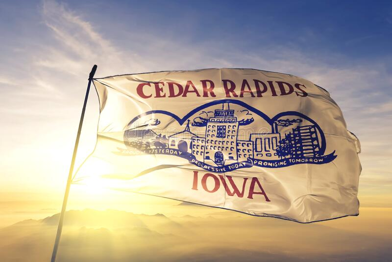 Cedar Rapids of Iowa of United States flag waving on the top. Cedar Rapids of Iowa of United States flag waving royalty free stock photo