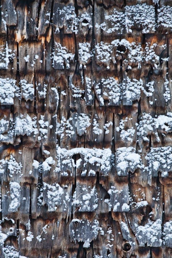 Cedar Shingles durante um dia de inverno frio fotos de stock royalty free