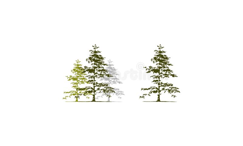 Cedar Tree Template Set libre illustration