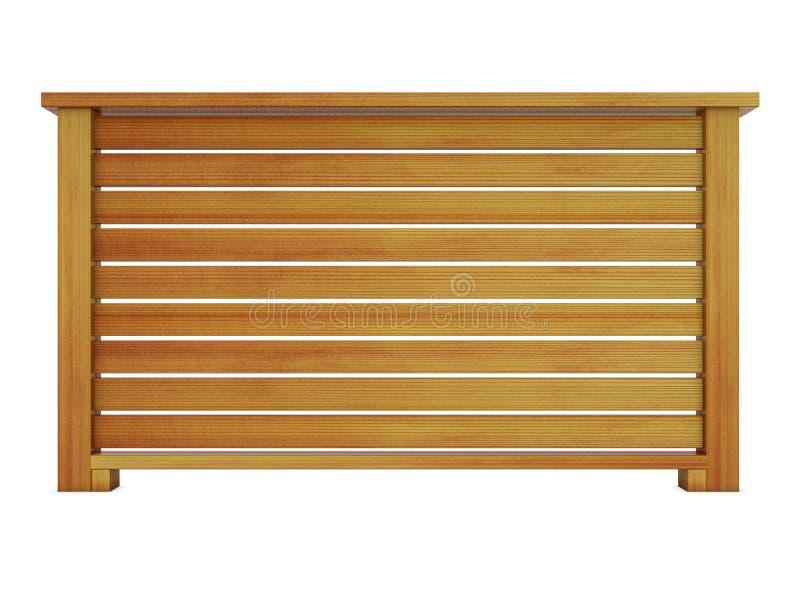 Ceder houten traliewerk met het houten balusters 3d teruggeven vector illustratie