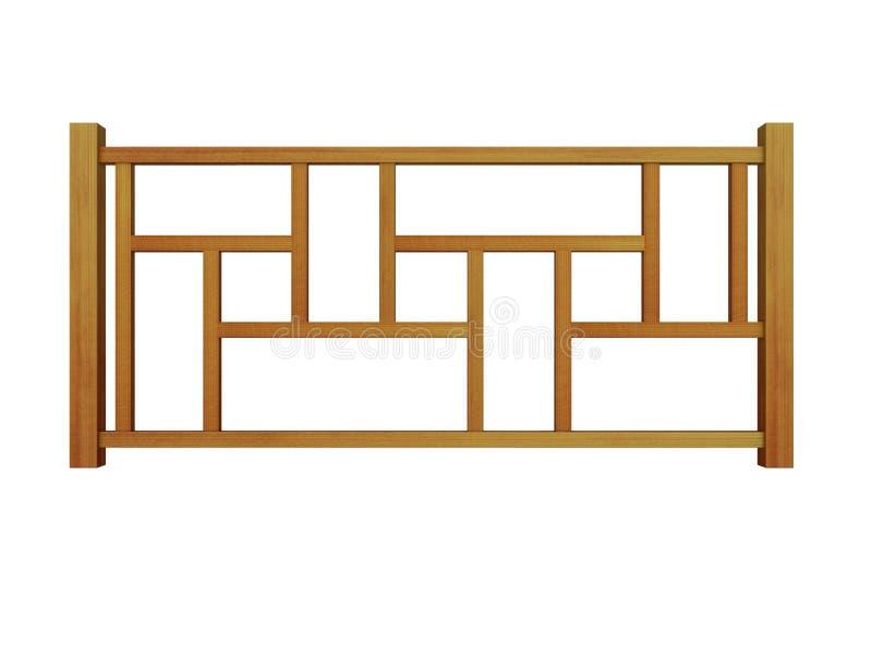 Ceder houten traliewerk met het houten balusters 3d teruggeven stock illustratie