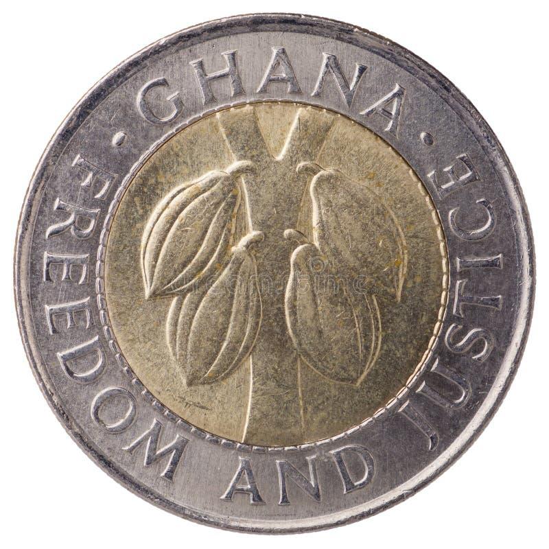 Cedi (tweede cedi) muntstuk 100 van Ghana, 1999, gezicht royalty-vrije stock foto