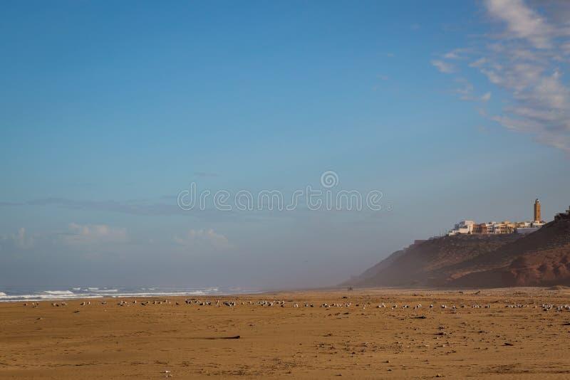 Cedo na manhã após a chuva na praia de Sidi Ifni fotografia de stock