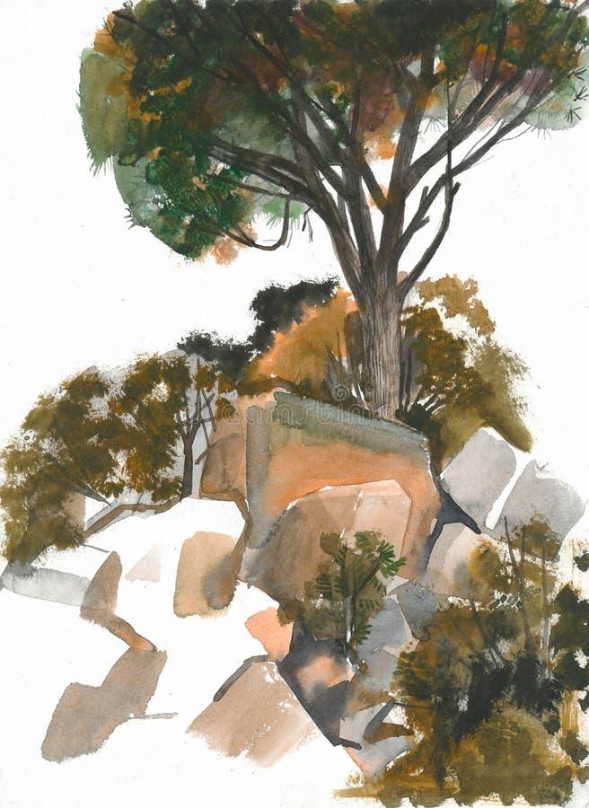 Cedro em uma pilha das pedras ilustração royalty free