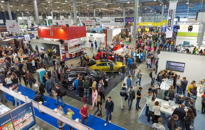 CEE 2017, the largest consumer electronics trade show of Ukraine. KIEV, UKRAINE - OCTOBER 07, 2017: People visit CEE 2017, the largest consumer electronics royalty free stock image