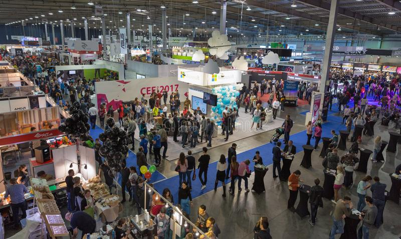 CEE 2017, the largest consumer electronics trade show of Ukraine. People visit CEE 2017, the largest consumer electronics trade show of Ukraine in ExpoPlaza royalty free stock image