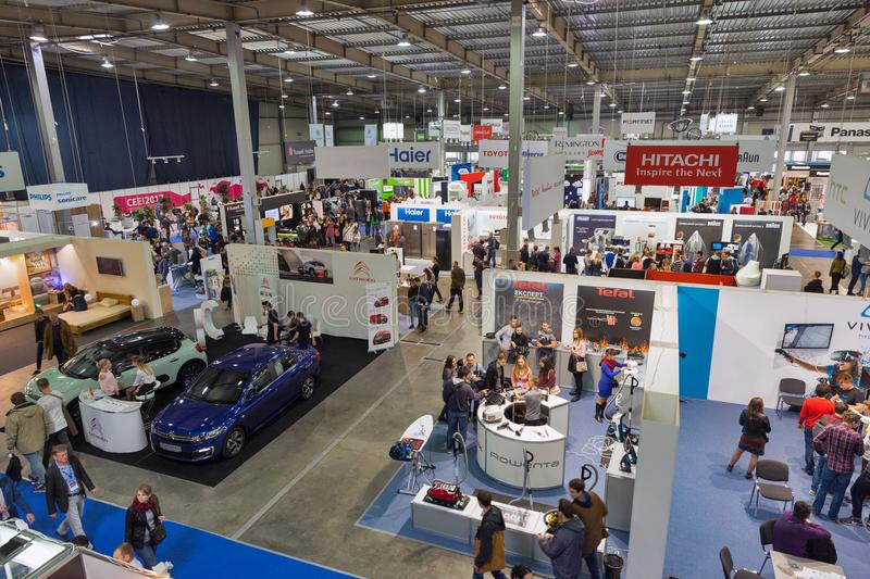 CEE 2017, the largest consumer electronics trade show of Ukraine. People visit CEE 2017, the largest consumer electronics trade show of Ukraine in ExpoPlaza royalty free stock photos
