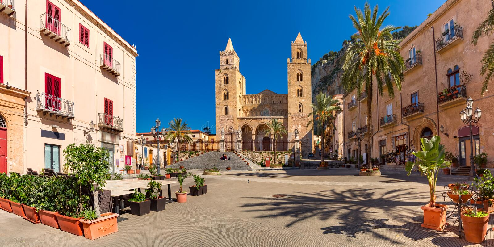 Cefalu Cathedral, Sicily, Italy stock photo