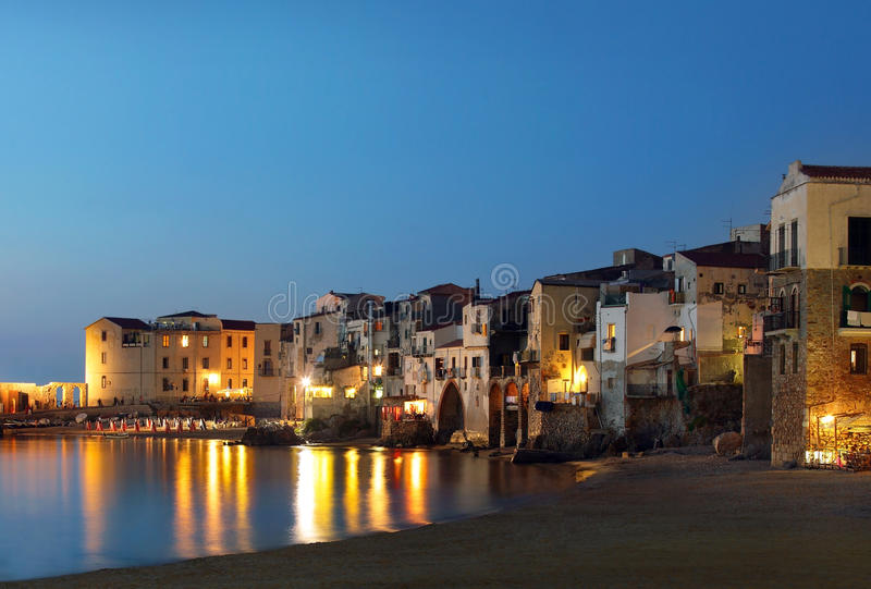 Cefalu city, Sicily. Photo of Cefalu city, Sicily at night stock photography