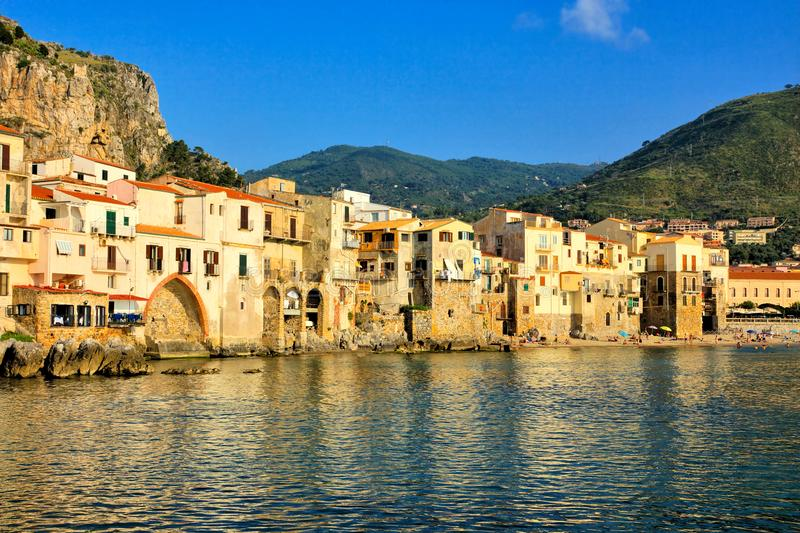Cefalu harbor along the Mediterranean, Sicily, Italy stock photo
