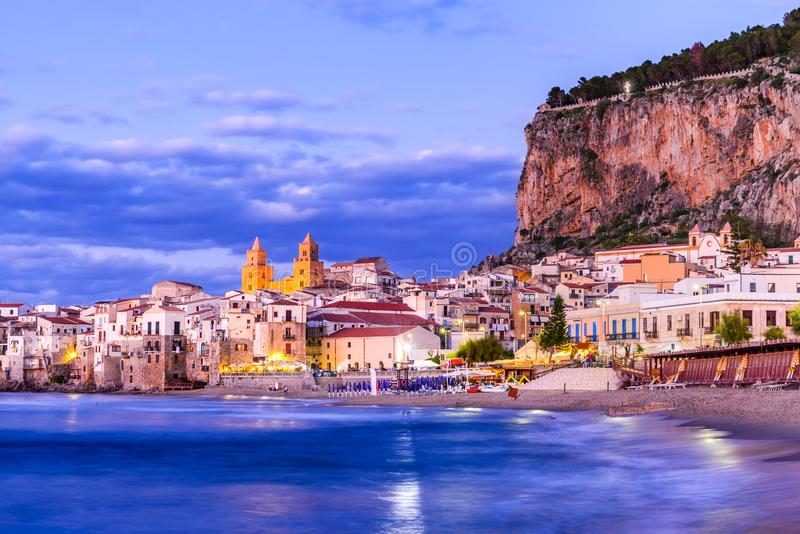 Cefalu, Ligurian Sea, Italy, Sicily. Cefalu, Sicily. Ligurian Sea and medieval sicilian city Cefalu. Province of Palermo, Italy royalty free stock images