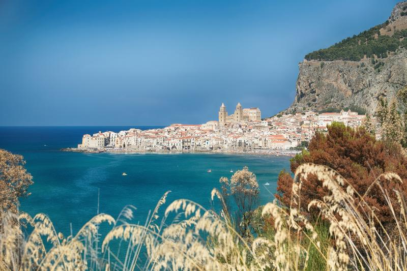 Cefalu, old harbor town on the island of Sicily royalty free stock photos