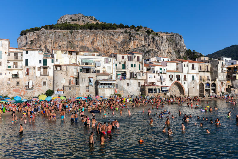 Cefalu`s Beach In Sicily, Italy Editorial Photography - Image of ...