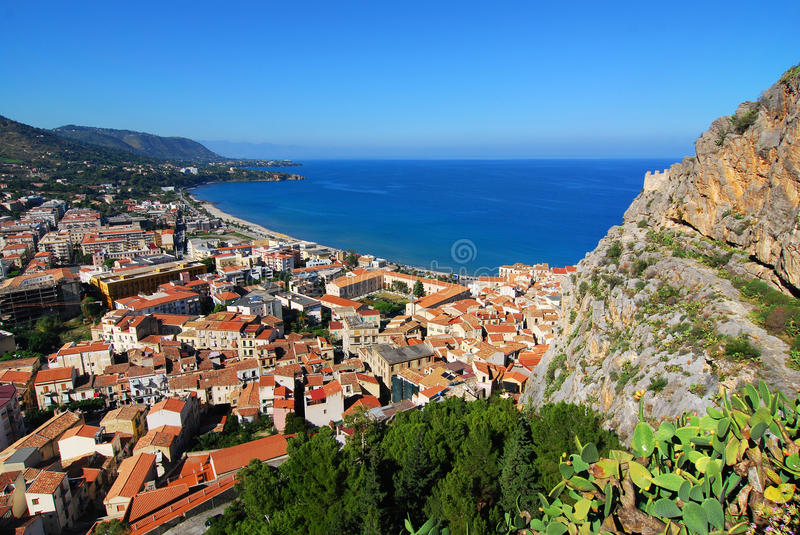 Cefalu / Sicily. Top view at town Cefalu in Sicily. Cefalu is located on the northern coast of Sicily, Italy on the Tyrrhenian Sea The town is one of the major stock photo